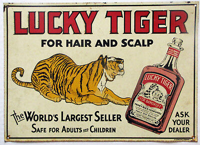 Antique Metal Advertising Sign Lucky Tiger Dandruff Embossed Designs Tin Sign