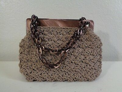 Gun-Marie Nilsson New York Beige Macrame Tortoise Look Lucite Trim & Chain Purse