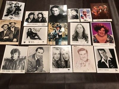 Lot N - 16 Autographed Country Music Photos - Kinleys, Ray Price, Webb Pierce++