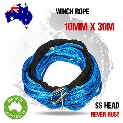 10MM x 30M Blue Dyneema Winch Rope Synthetic strap 4WD AVT Boat Recovery BG