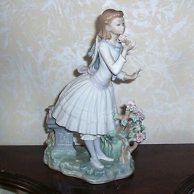 "Lladro Girl With Flowers And Bench-12"" Tall"