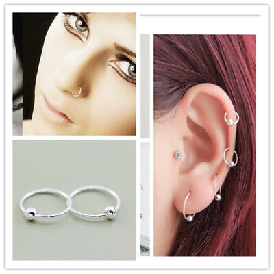 Sterling Silver Ball Hoop Earrings Nose Pins Tiny 7mm to 111mm & Multi Pack Sets