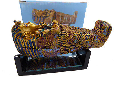 King Tut sarcophagus Coffin, Mummy Statue with Mirrored Wooden Stand
