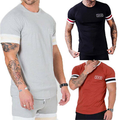 US Men Slim Fit O Neck Short Sleeve Muscle Tee Shirts Casual T-shirt Tops Blouse