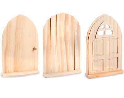 Unfinished Freestanding Wooden Fairy or Elf Doors for Crafts