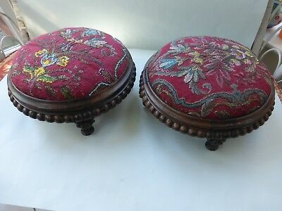 Superb Pair William Iv Circular Beeded Foot Stools Excellent Condition