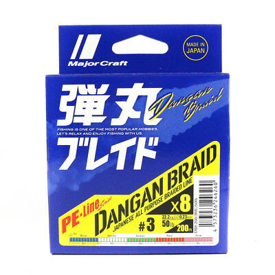 Major Craft Dangan Braided Line X8 200m P.E 3 Multi DB8-200/3MC/50lb (6260)