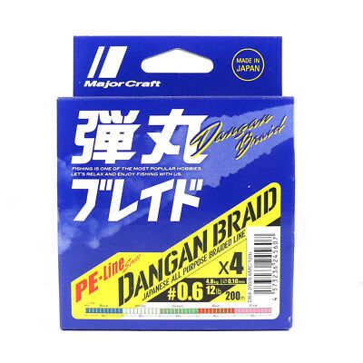 Major Craft Dangan Braided Line X4 200m P.E 0.6 Multi DB4-200/0.6MC/12lb (5607)