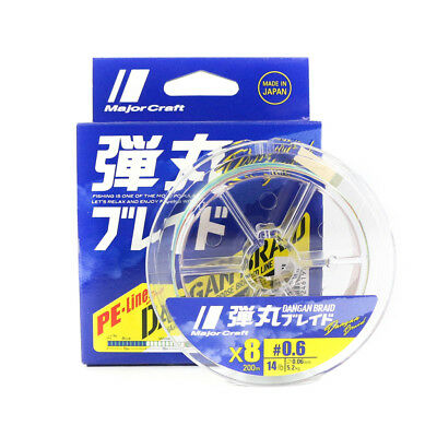 Major Craft Dangan Braided Line X8 200m P.E 0.6 Multi DB8-200/0.6MC/14lb (6192)
