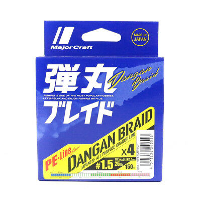 Major Craft Dangan Braided Line X4 150m P.E 1.5 Multi DB4-150/1.5MC/25lb (5553)
