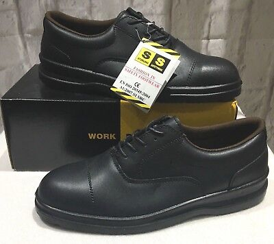 Sterling Safety Shoes Size UK 12 EU 46 Black Leather Oxford Steel Toe Cap SSS501