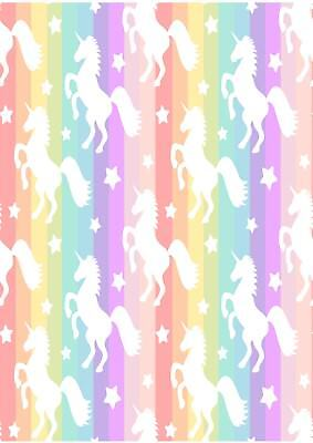 Striped Unicorn Rainbow Wallpaper A4 Sized Edible Wafer Paper / Icing Sheet