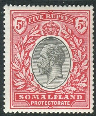 SOMALILAND-1921 5r Black & Scarlet.  A lightly mounted mint example Sg 85