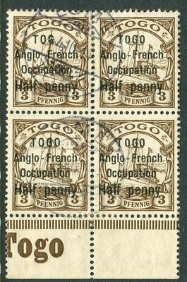 """TOGO-1914 ½d on 3pf Brown """"TOG for TOGO"""".  A fine used block of 4 Sg H27-27a"""