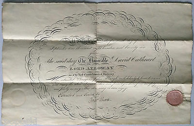 1826 BURGESS TICKET appointing Lord Alloway a Burgess of the Town of Dumfries