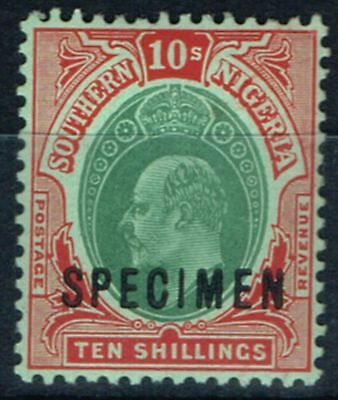 Southern Nigeria 1909 10s Green & Red-Green Specimen SG43s V.F MNH