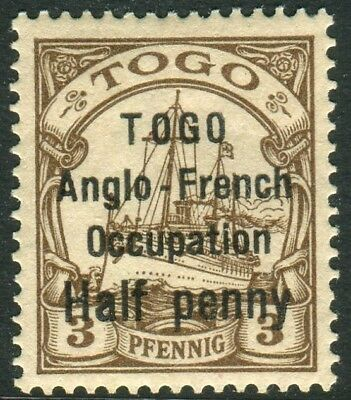 TOGO-1914 ½d on 3pf Brown.  A lightly mounted mint example Sg H27
