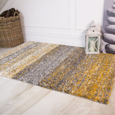 Modern Ochre Mustard  Yellow Floor Rug Living Room Small Large Soft Shaggy Rugs