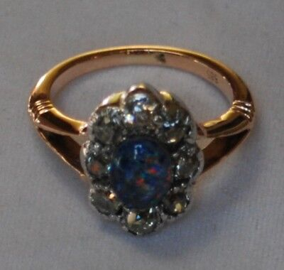 Rotgold Antik Ring Opal + Diamant Rose 0.80 Carat 585 gold