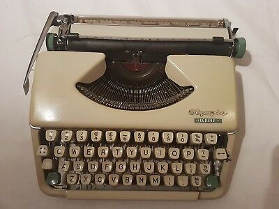Vintage Olympia Splendid 66 Typewriter with Brown Carry Case 60's