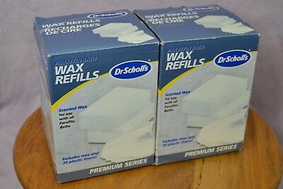 Two Dr Scholls Paraffin Bath Wax Refills Scented 2 lbs 30 Plastic Liners Each
