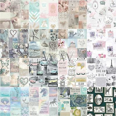 Collage Wallpaper Kids Adults - Floral Shabby Chic Unicorns Wood Hearts Cars