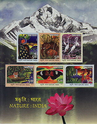Indien India 2017 Block 155 Nature Tiger,Kranich,Elefant,Pfau,Reh postfrisch