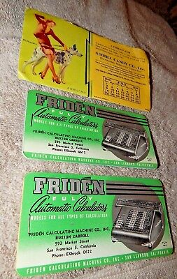 Vintage San Francisco Advertising Ink Blotters Sierra Candy Co-Friden Calculator