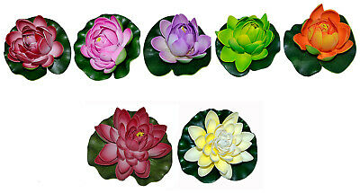 1 x Artificial Water Lily 10 cm Decoration Aquarium Plastic Flower Rose Pond