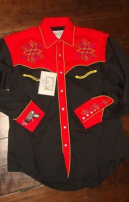 Rockmount Ranch Wear Back to the Future Repro Embroidery Western Shirt Red Black