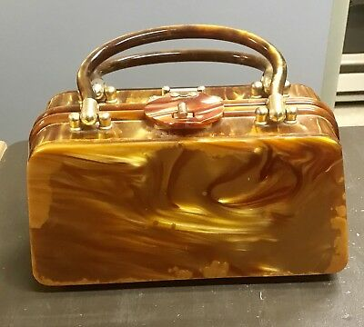 Nice Vintage Lucite Purse Handbag Butterscotch 1950's