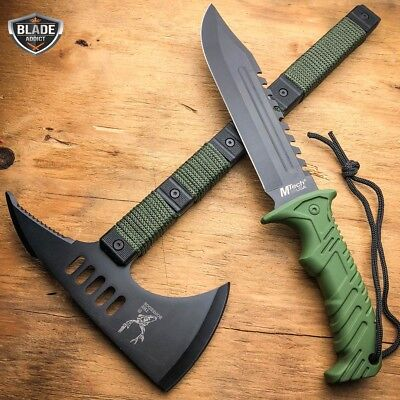 2PC TACTICAL Survival Tomahawk Throwing Hatchet Hunting AXE + FIXED BLADE Green