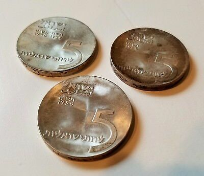 Lot of 3 Vintage Israel 5 Lirot Coins 1958 and 1959