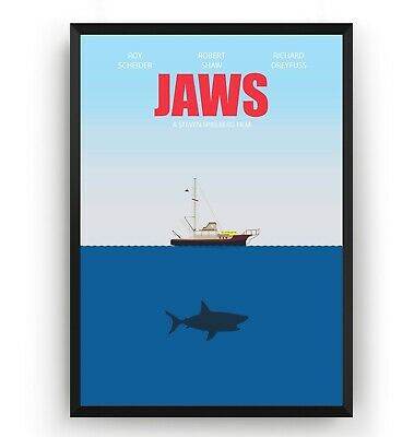 Jaws Poster - Spielberg Wall Art Print Decor TV Show Movie Room Gift - Unframed
