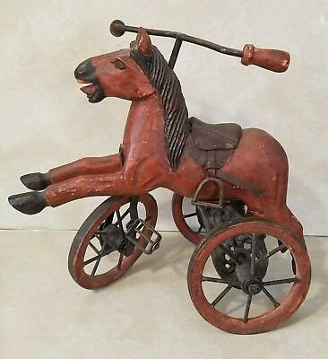 Antique? Cast Metal ~ Leather ~ Wood Carved Tricycle Horse ~ AS IS