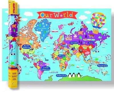 LARGECOLORFUL WORLD MAP For KidsGreat For TeachingTeachers - Large world map for kids