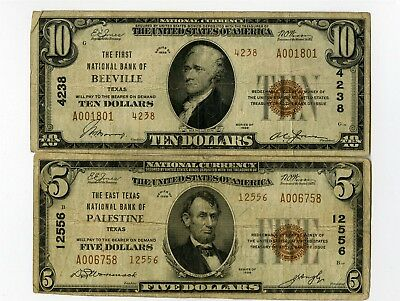 1929 $10 First Ntl Bank Beeville Tx, $5 East Texas Ntl Bank Palestine Notes