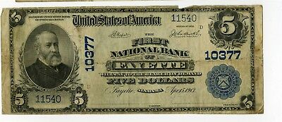 1913 $5 First National Bank Of Fayette Alabama National Banknote