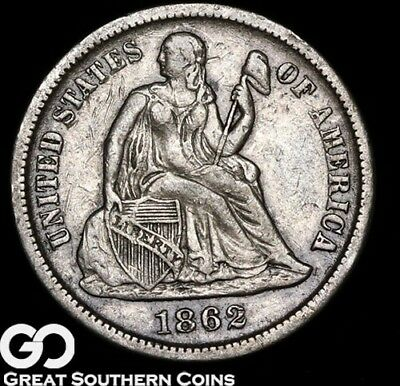 1862-S Seated Liberty Dime, Key Date Civil War Issue ** Free Shipping!
