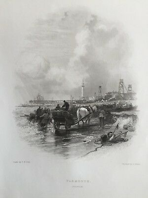 1842 Antique Print; Great Yarmouth, Norfolk by E.W. Cooke & E. Finden