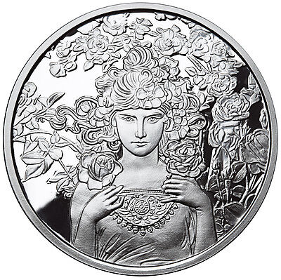 Alphonse Mucha Rose 1 Oz Silver Coin #3 In Series Collection Coa Anonymous Mint
