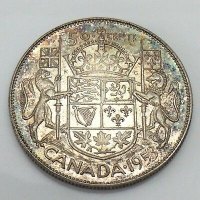 1953 Canada 50 Fifty Cents Half Dollars Silver 800 Circulated Canadian Coin E723