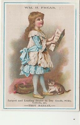 Victorian Trade Card Frear Dry Goods Troy Bazaar Child with Music and a Kitten