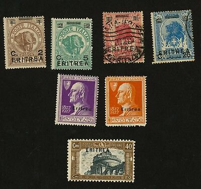 1922-27 Eritrea Stamps Sct #58, 59, 102, 104, B17 (All Mint H), 60, 62 (Used, H)