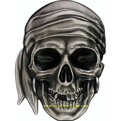 PIRATE SKULL 1oz Silver Coin shaped with antique finish Palau 2017