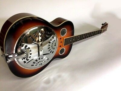 Great Playing New 6 String Vintage Style Resonator Sunburst Guitar