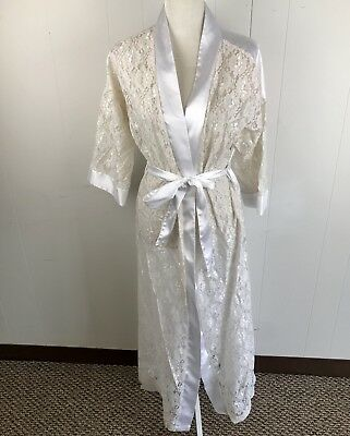 Lucie Ann II Vintage Peignoir Robe Bridal Lace Satin White Cream Small S