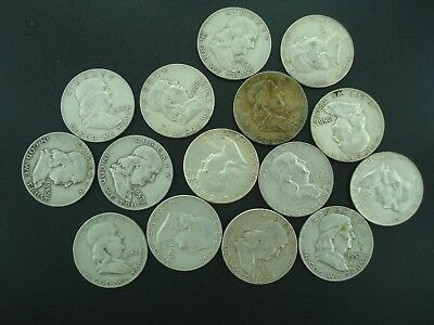 Lot of (15) Franklin Half Dollars 50c Silver Coins  **NO RESERVE**