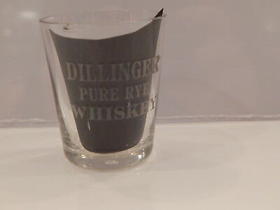 Pre Prohibition Advertising Etched Shot Glass Dillinger Pure Rye Whiskey