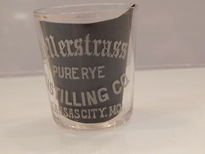 Pre Prohibition Advertising Etched Shot Glass Kellerstrass Pure Rye Distilling